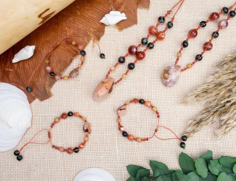 biżuteria agat płonący naszyjniki bransoletki