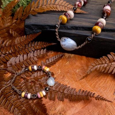 biżuteria jesienne kolory naszyjnik bransoletka