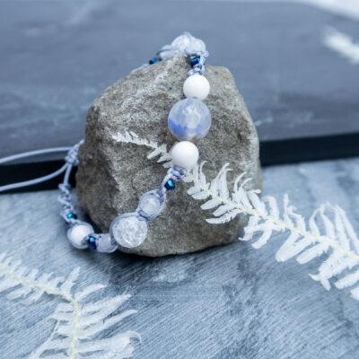bransoletka kamienie naturalne zimowy kryształ