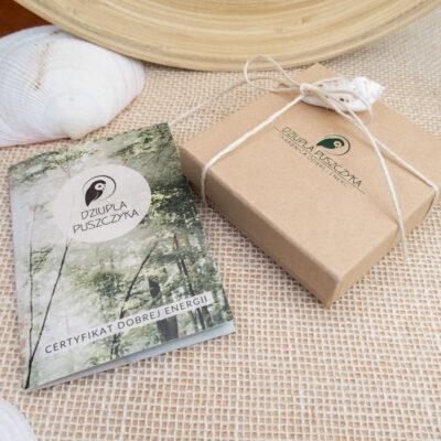 ekologiczne opakowanie prezentowe certyfikat dobrej energii bizuteria handmade