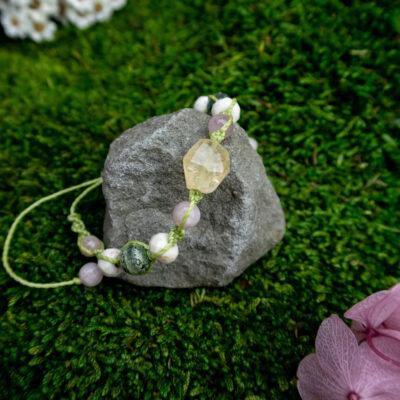 bransoletka kamienie naturalne cytryn kunzyt