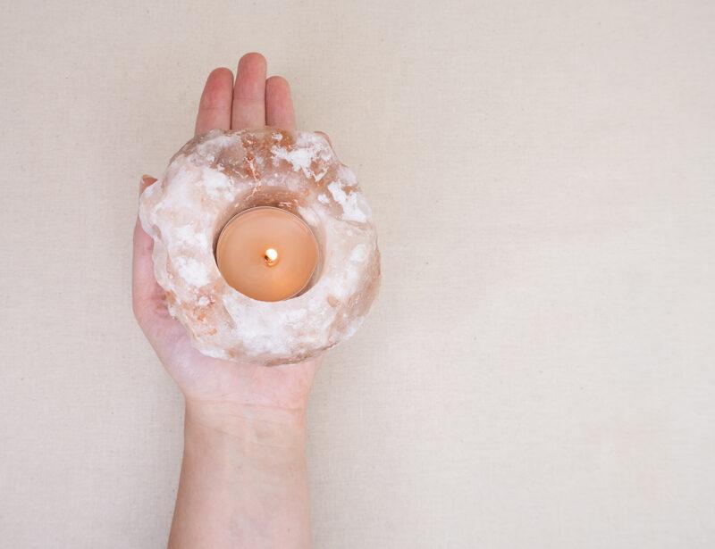 naturalny solny świecznik bryła soli na tealight