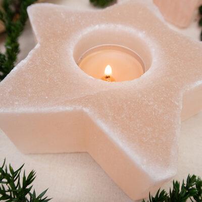 Naturalny świecznik różowa sól gwiazdka