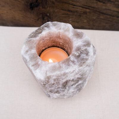 Naturalny szary świecznik solny
