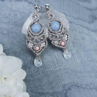 Amulety UKOJENIE Kolczyki kamień księżycowy angelit rodochrozyt