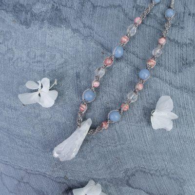 Amulet UKOJENIE Naszyjnik kryształ górski angelit rodochrozyt